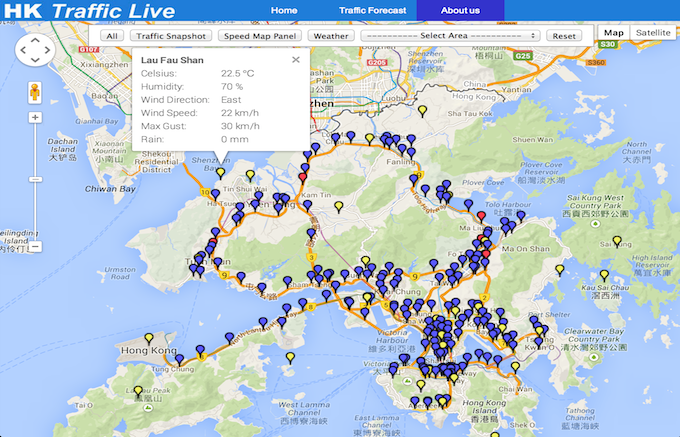 Hong Kong Weather Map.Hk Weather Traffic Live Data Hk 香港數據